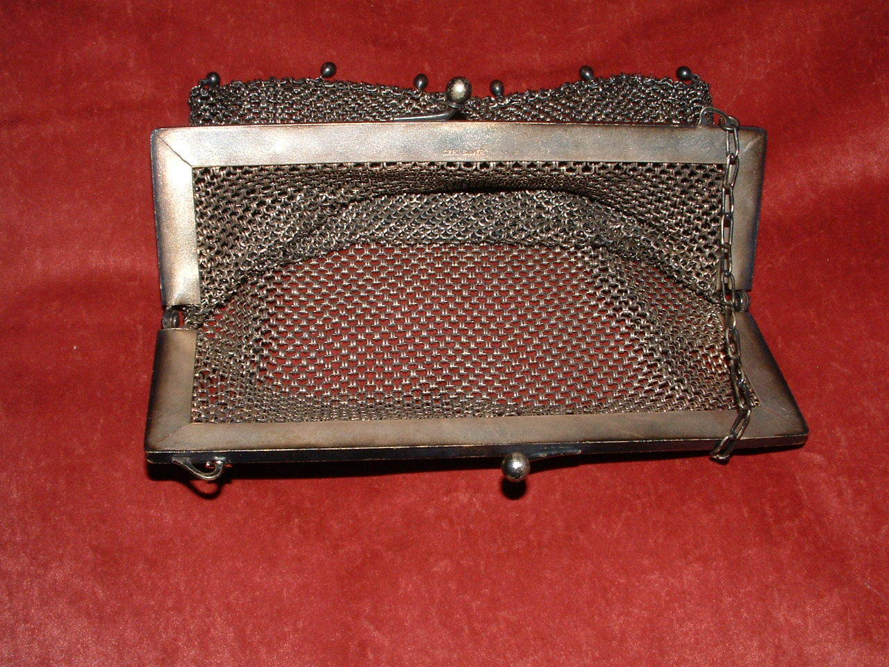 GERMAN SILVER LATE 1800'S SILVER MESH PURSE/ HANDBAG image 2