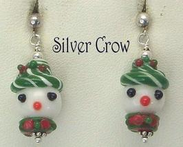 Snowman Lampwork Post Earrings with Sterling Silver Multi Colored - $14.99