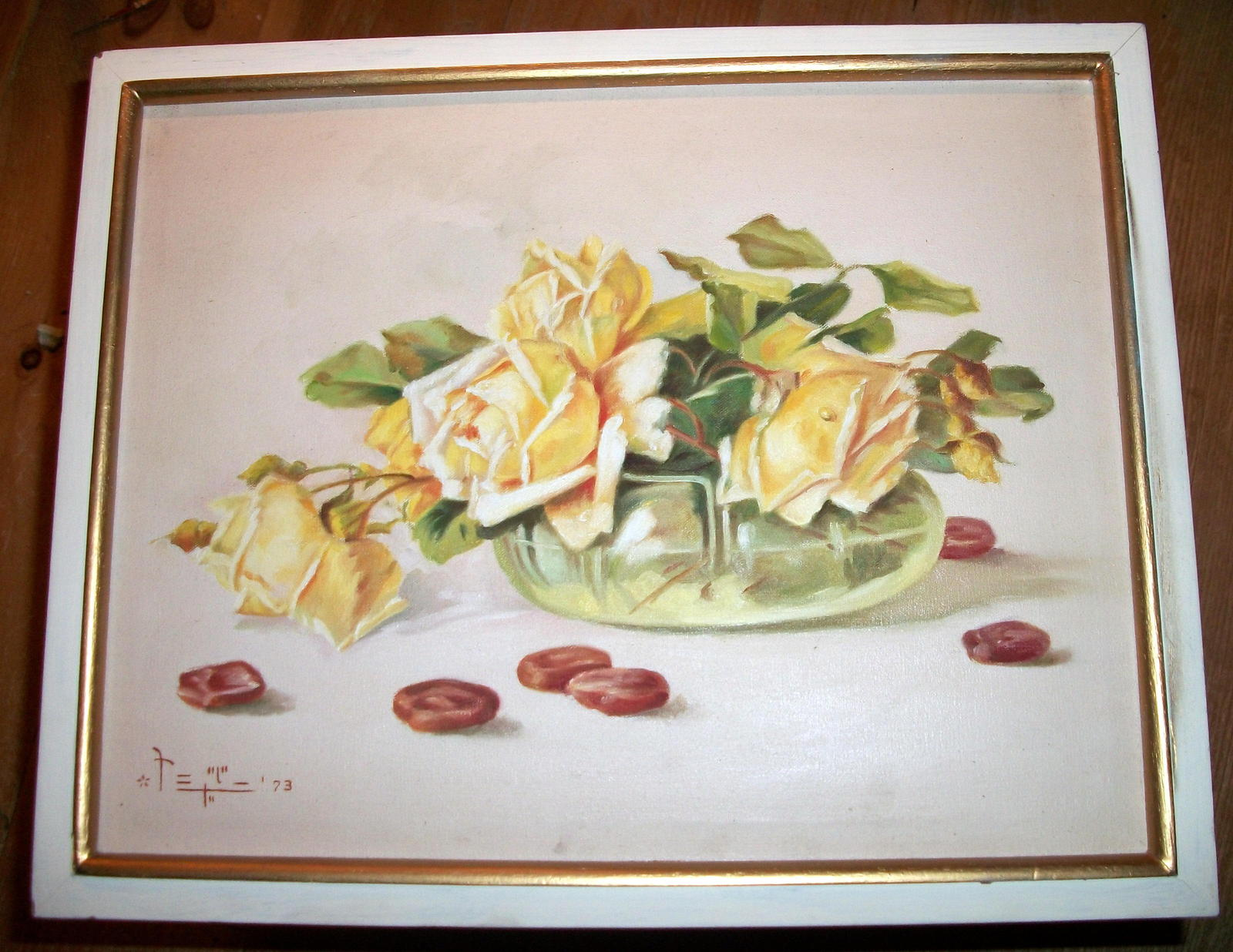 Yellow Roses Still Life Vintage Oil Painting,Signed Artist Pangilinan Reduced image 7