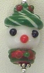 Snowman Lampwork Post Earrings with Sterling Silver Multi Colored