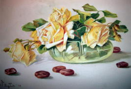 Yellow Roses Still Life Vintage Oil Painting,Signed Artist Pangilinan Reduced image 8