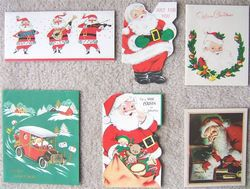 VINTAGE SANTA CLAUS CHRISTMAS GREETING CARDS SIX Holiday CARDS