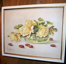 Yellow Roses Still Life Vintage Oil Painting,Signed Artist Pangilinan Reduced image 9