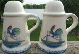 Roosters Strutting Whimsical Vintage Ceramic Salt and Pepper Shaker Set  1970s image 4