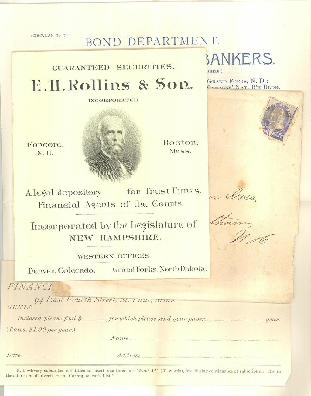 Rollins vintage advertising booklet securities 1890 Concord NH ephemera