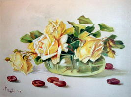 Yellow Roses Still Life Vintage Oil Painting,Signed Artist Pangilinan Reduced image 10