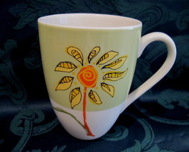 STARBUCKS Coffee Mug Cup Collectible GREEN with YELLOW FLOWER 2006 - $14.95