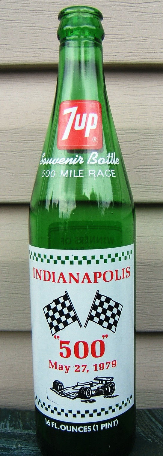 7 UP Indianapolis 500 Souvenir Bottle Race Car Flags Winners May 1979 Vintage image 1
