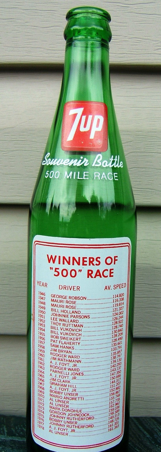 7 UP Indianapolis 500 Souvenir Bottle Race Car Flags Winners May 1979 Vintage image 2