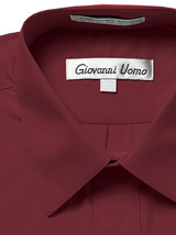 Giovanni Uomo Men's Classic Fit Burgundy Button Up Long Sleeve Dress Shirt  - L image 2