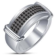 Mens Black Diamond Anniversary Band Ring 14k White Gold Over 925 Sterlin... - £69.76 GBP