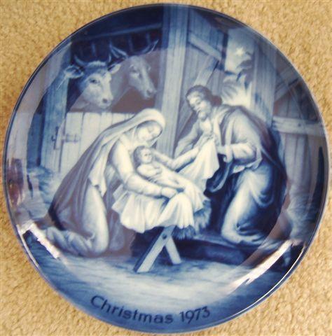 ak kaiser Holy Night Christmas plate west germany blue white porcelain 1973