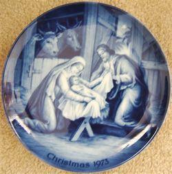 ak kaiser Holy Night Christmas plate west germany blue white porcelain 1973 image 2
