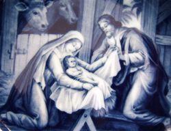 ak kaiser Holy Night Christmas plate west germany blue white porcelain 1973 image 3