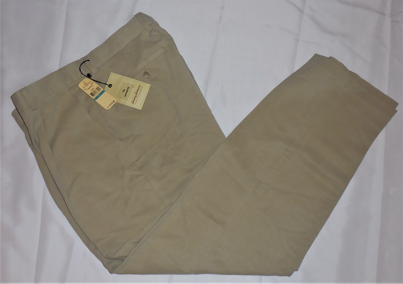 Primary image for Tommy Bahama T1344 The Wilshire Classic 100% Silk Pants Khaki Tan 35x30 NWT $115