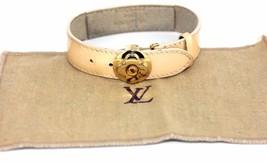 Authentic Louis Vuitton Floral Metal Beige Vernis Leather Bracelet Bangle France - $197.01