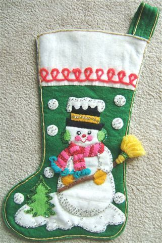 Vintage SNOWMAN with BROOM FELT CHRISTMAS STOCKING Sequins 1950s