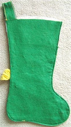 Vintage SNOWMAN with BROOM FELT CHRISTMAS STOCKING Sequins 1950s image 3