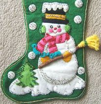 Vintage SNOWMAN with BROOM FELT CHRISTMAS STOCKING Sequins 1950s image 4