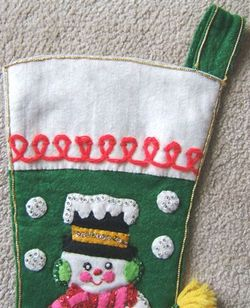 Vintage SNOWMAN with BROOM FELT CHRISTMAS STOCKING Sequins 1950s image 5