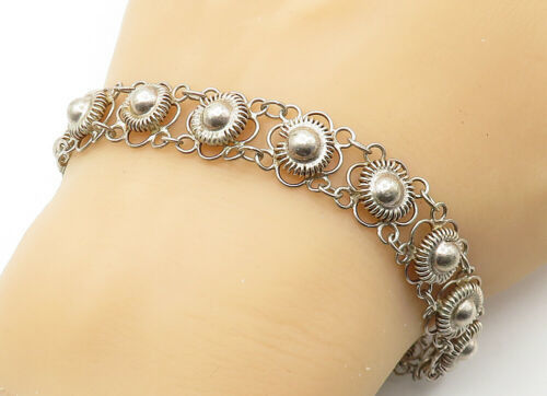 Primary image for 925 Sterling Silver - Vintage Wire Twist Floral Link Chain Bracelet - B6323