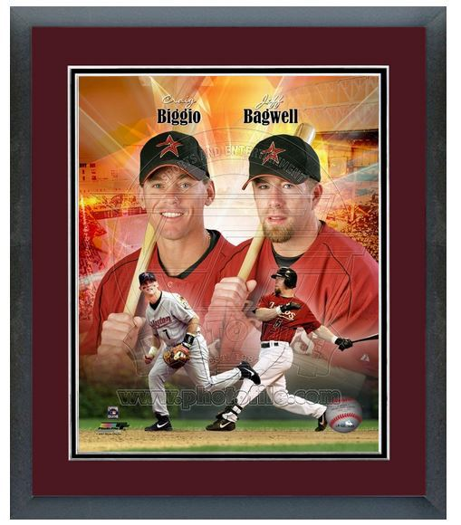 "11"" x14"" Framed & Matted Biggio & Bagwell Astros Legends-""Portrait Pluses Photo"""
