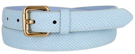 Skinny Women's Snakeskin Embossed Leather Casual Dress Fashion Belt (Blue, Me... - $6.92
