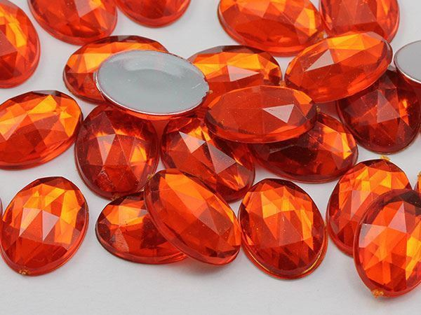 25x18mm Orange Hyacinth H125 Flat Back Oval Acrylic Gemstones 20 PCS