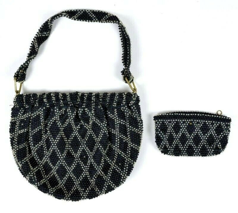 Primary image for Vintage 1950s Shoulder Bag & Coin Purse Flapper Beaded Expandable Satchel Retro