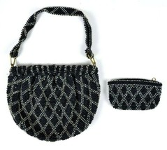 Vintage 1950s Shoulder Bag & Coin Purse Flapper Beaded Expandable Satche... - $18.80