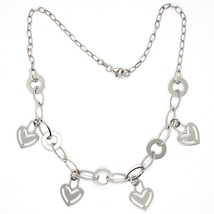 925 Silver Necklace Chain Oval, Waterfall, Hearts Flat pendants, heart image 1