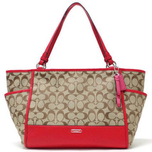 NEW Coach Park Signature Carrie Tote Shoulder Top Handle Bag in Red  F28728 - $354.37