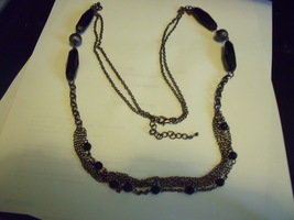 Vintage Long Multiple Chain Necklace with Oval Black Beads & Pewter Roun... - $25.00