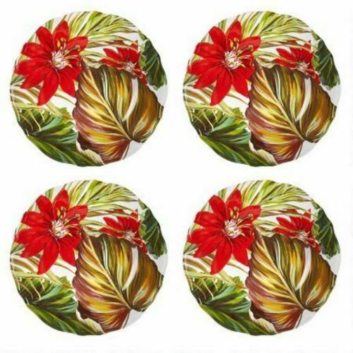 "Coastal Melamine Tropical Seascapes Salad Dessert Plates 9"" set of 4 Beach House"