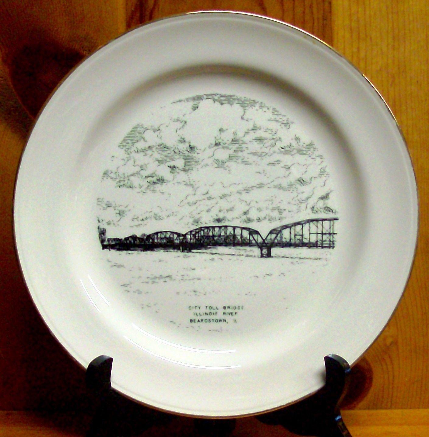 Vintage Beardstown, IL Illinois City Toll Bridge IL River Collector's Plate