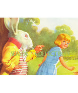 1940s Color Litho ALICE in WONDERLAND & WHITE RABBIT - $25.99