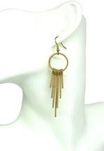 Women new gold key loops drop hook pierced earrings - $23.35 CAD