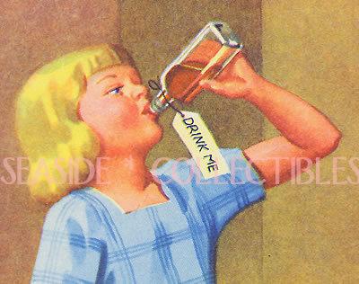 1940s Color Litho DRINK ME ALICE in WONDERLAND