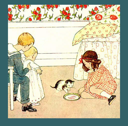 Primary image for Sweet SAIDA 1911 Antique I LOVE LITTLE PUSSY Song Print