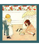 Sweet SAIDA 1911 Antique I LOVE LITTLE PUSSY Song Print - $38.99