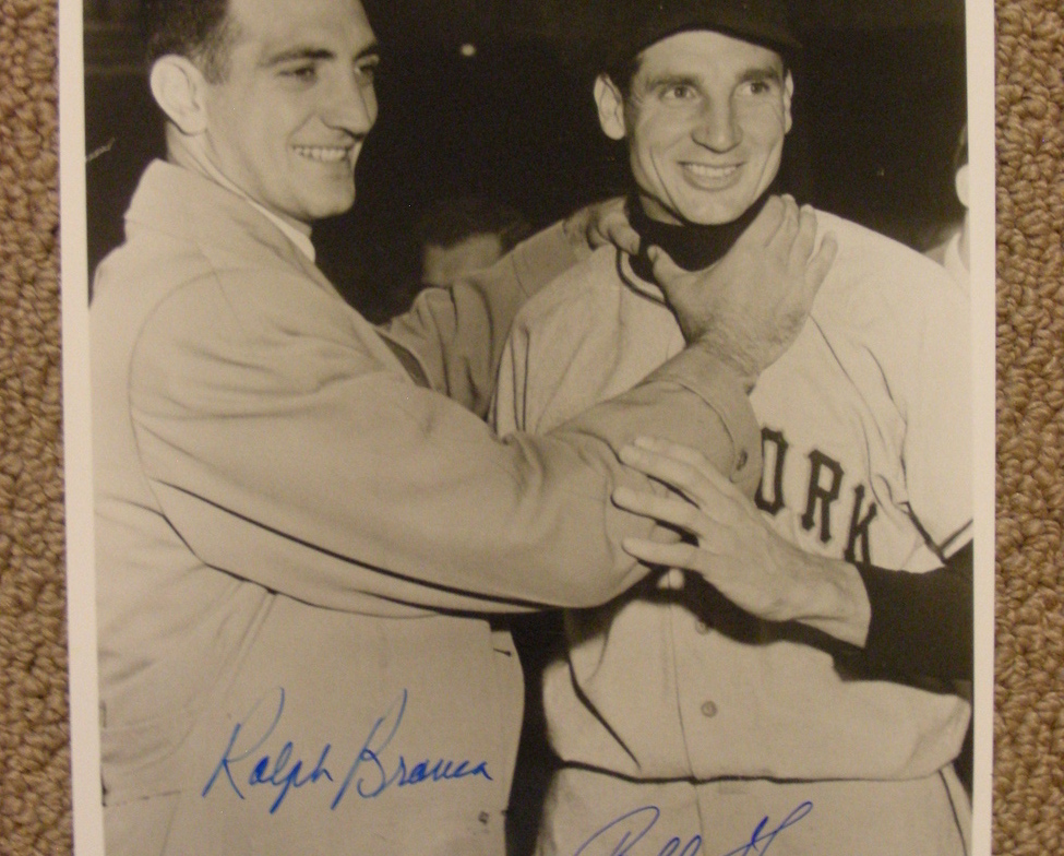 Primary image for BOBBY THOMSON RALPH BRANCA 1951 GIANTS SIGNED AUTO B&W 8X10 PHOTO PSA/DNA