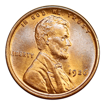 1926 P Lincoln Wheat Cent - Red Gem BU / MS RD  / UNC - $27.00