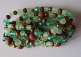 Plastic Wood Beaded Stretch Bracelet Bohemian Zen Earth Tones Fashion Je... - $4.74