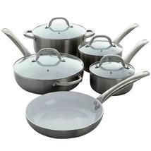 Oster Montecielo 9 Piece Aluminum Cookware Set in Metallic Titanium - $124.20