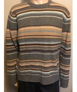 Men's J.Crew Long Sleeve 100% Wool Striped XL Winter Sweater Gray Maroon... - $33.85