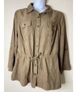 Liz & Me Womens Plus Size 1X Brown Faux Suede Button Up Shirt 3/4 Sleeve - $23.76