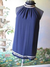 Twenty One Blue Beaded Neck-line Cocktail Mini Sleeveless Short Dress Si... - $38.61