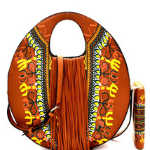 New! Handbag Republic Boho Floral Print, Fringe Round Satchel/Crossbody-... - $58.50
