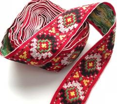 "Vintage Embroidered Jacquard Trim Ribbon Boho Hippie Southwestern 2"" Red... - $39.00"