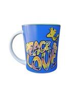 Peanuts Charlie Brown Woodstock Peace & Love Ceramic Coffee Mug Cup Blue - $23.99